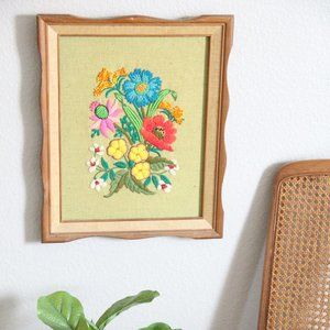 Vintage Retro Embroidered Granny Picture Wall Art